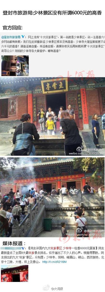 """河南省登封市旅游局5日对""""少林寺一炷香最贵6千元""""的报道做出回应,称少林景区根本没有高香,少林寺大雄宝殿前更不会有所谓六千元的高香。图为回应截图"""