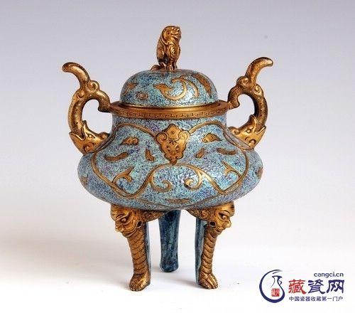 高温颜色釉瓷三足炉鉴赏(图)