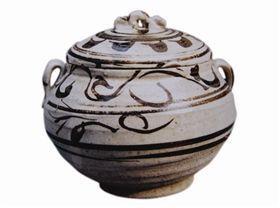 古瓷鉴赏:宋代磁州窑白釉黑花盖罐
