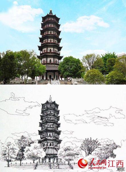 南昌大学90后女生手绘美景走红网络(组图)