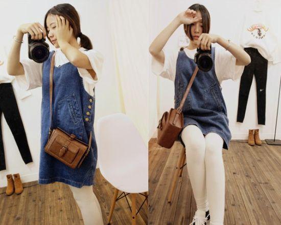 春季新款韩版牛仔背带裙