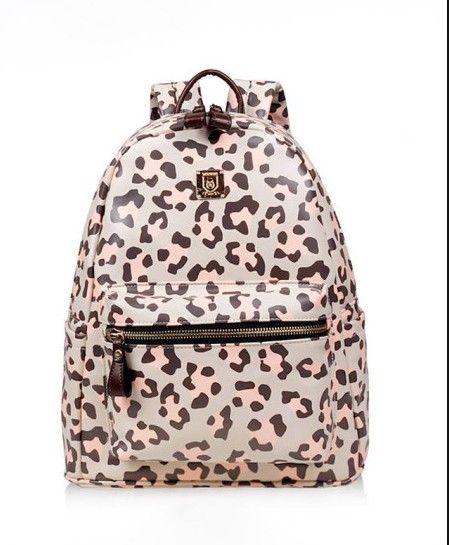 韩版时尚甜美粉色豹纹双肩包
