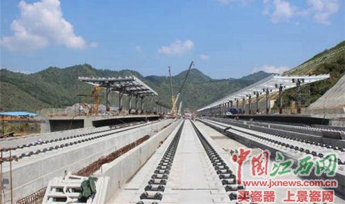京福高铁江西段进入铺轨阶段 明年6月通车(图)