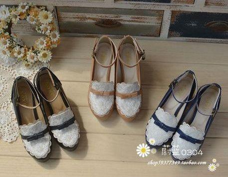 南昌妹子换季必备超仙森林女系粗跟单鞋