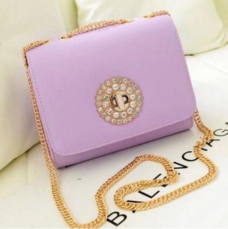 紫色镶钻链条女包