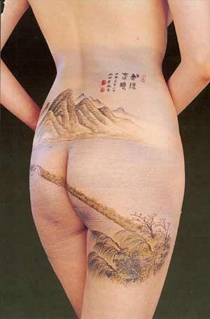 美女臀部上的国画 现代人体上的传统之美