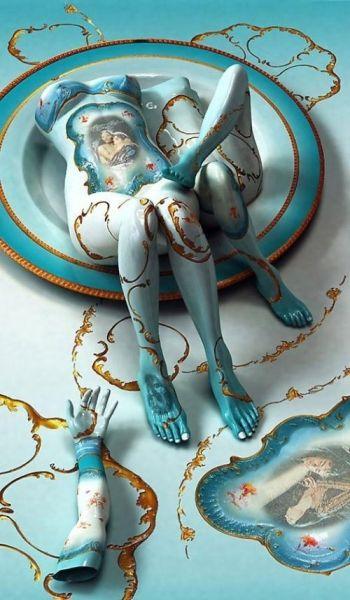 充满诱惑的美女陶瓷雕像鉴赏