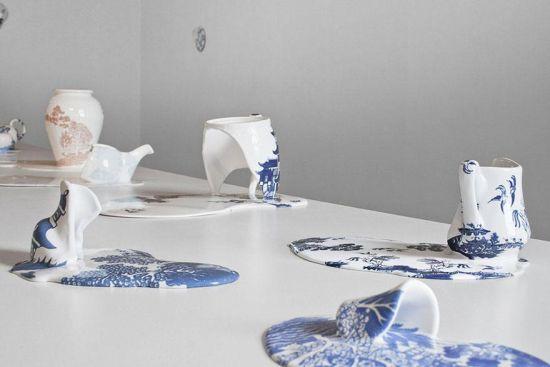 艺术家打破常规创作融化的瓷器