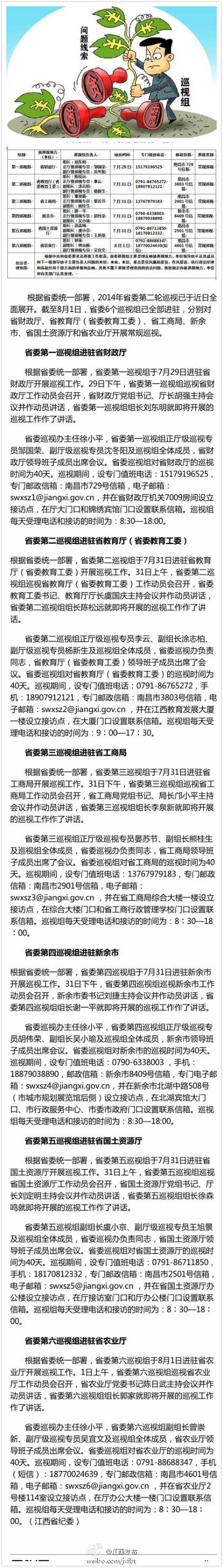 江西省第二轮巡视组全部进驻