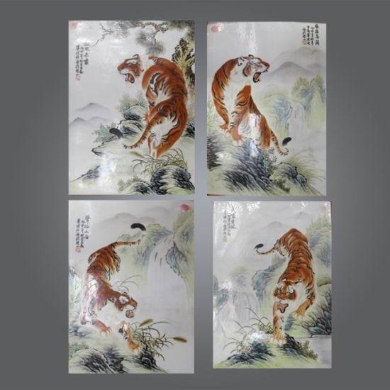 中国最好的猛虎瓷板画:毕渊明《老虎瓷板画》