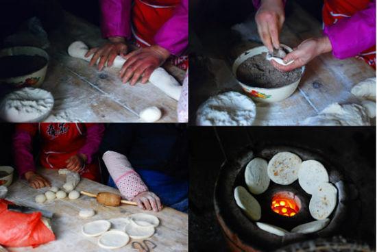张周虎在制作城子镇烧饼