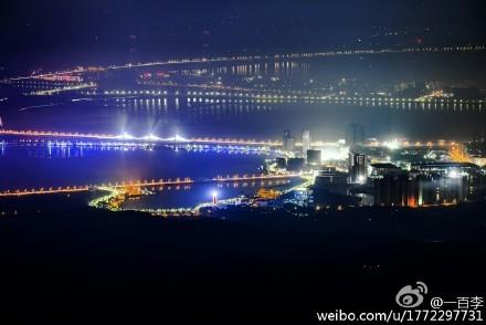八里湖大桥夜景(来源:@一百李)
